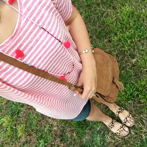 leopard sandals, tassel necklace