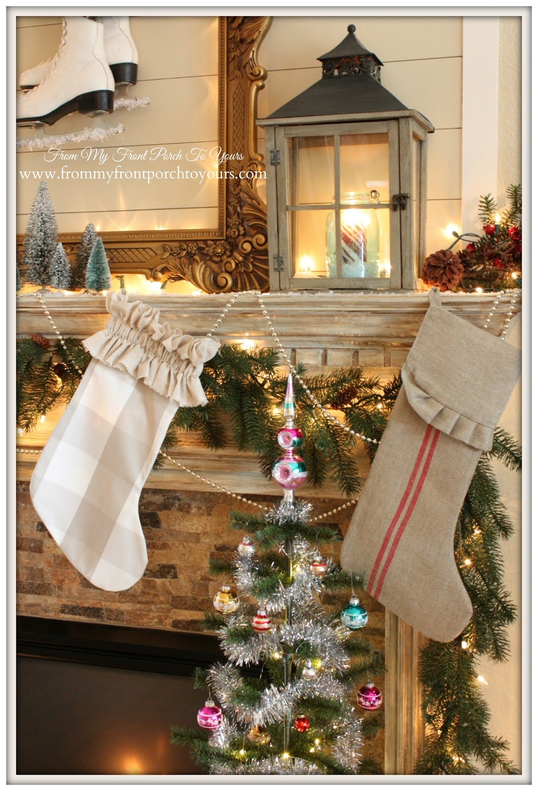 French Farmhouse Vintage Christmas Mantel-Lantern-DIY-Stockings- From My Front Porch To Yours