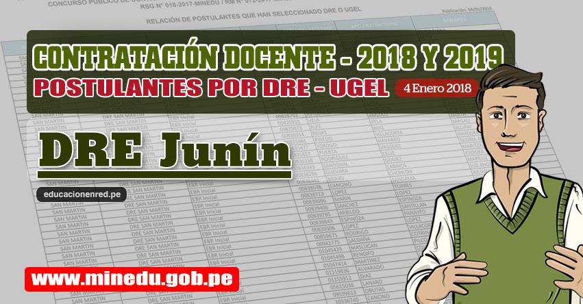 DRE Junín: Lista de Postulantes por UGEL DRE - Contrato Docente 2018 (.PDF) www.drejunin.gob.pe