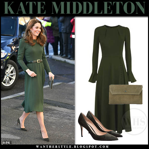 Kate Middleton in olive green midi beulah dress and khaki green gianvito rossi 85 suede pumps royal family fashion january 22 duchess