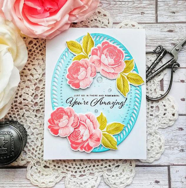 Sunny Studio Stamps: Everything's Rosy You're Amazing Customer Card by Kelly Lunceford