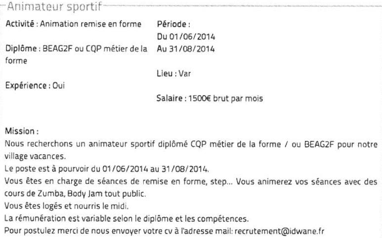 Lettre De Motivation Pour Titularisation Animateur Ccmr