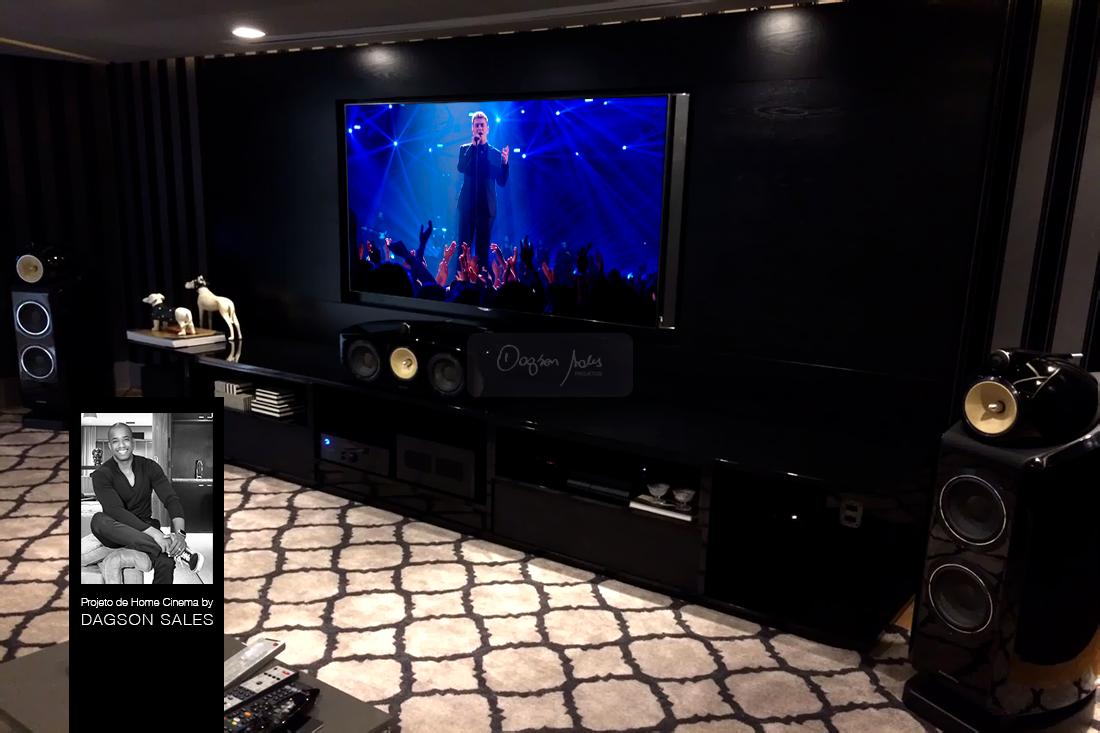 Neste projeto de home cinema, Dagson Sales utilizou caixas B&W 800 D2 Series, amplificação Rotel e Projetor SIM2 Multimedia