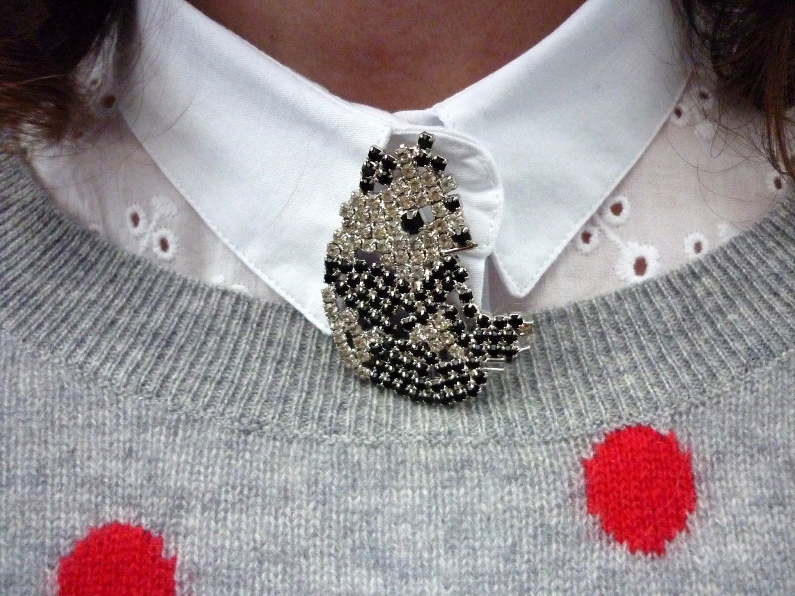 Panda Brooch, White Embroidery Anglaise Shirt, Red/Black Polka Dot Jumper,  | Petite Silver Vixen