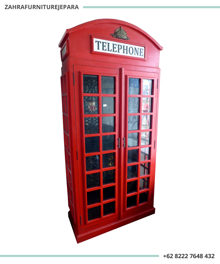 LEMARI BOX TELEPON INGGRIS WARNA MERAH