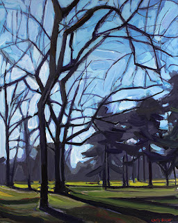 A painting of the park behind the Erie County Botanical Gardens.