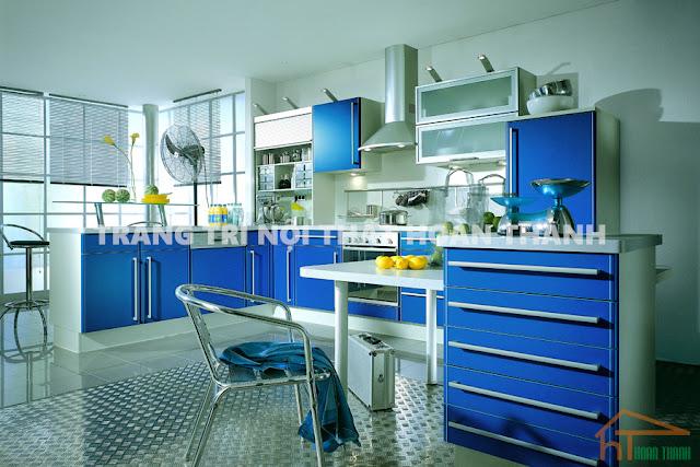 Trần nội thất nhà bếp màu xanh 4