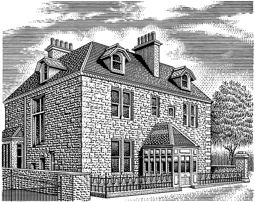 08-Old-Inn-Michael-Halbert-Scratchboard-Images-of-Animals-and-Architecture-www-designstack-co