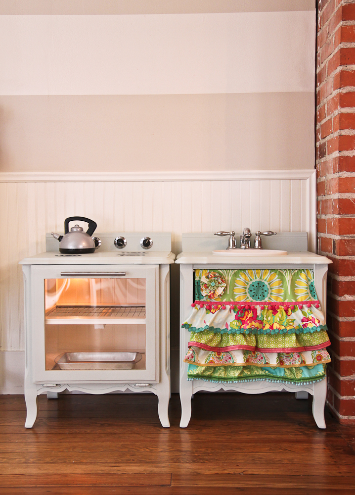 The Farmers Nest How to make a play kitchen set out of a pair of nightstands DIY