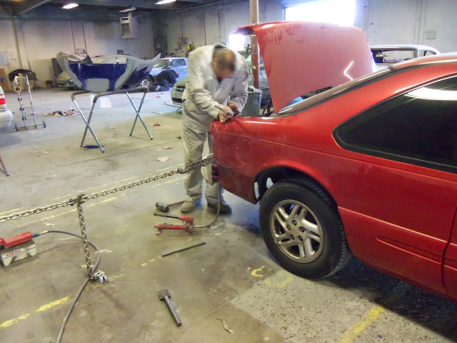 Collision damage being repaired at Almost Everything Auto Body