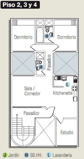 Planos de casa con estudio oficina en 120m2 todo para for Planos de escritorios de oficina