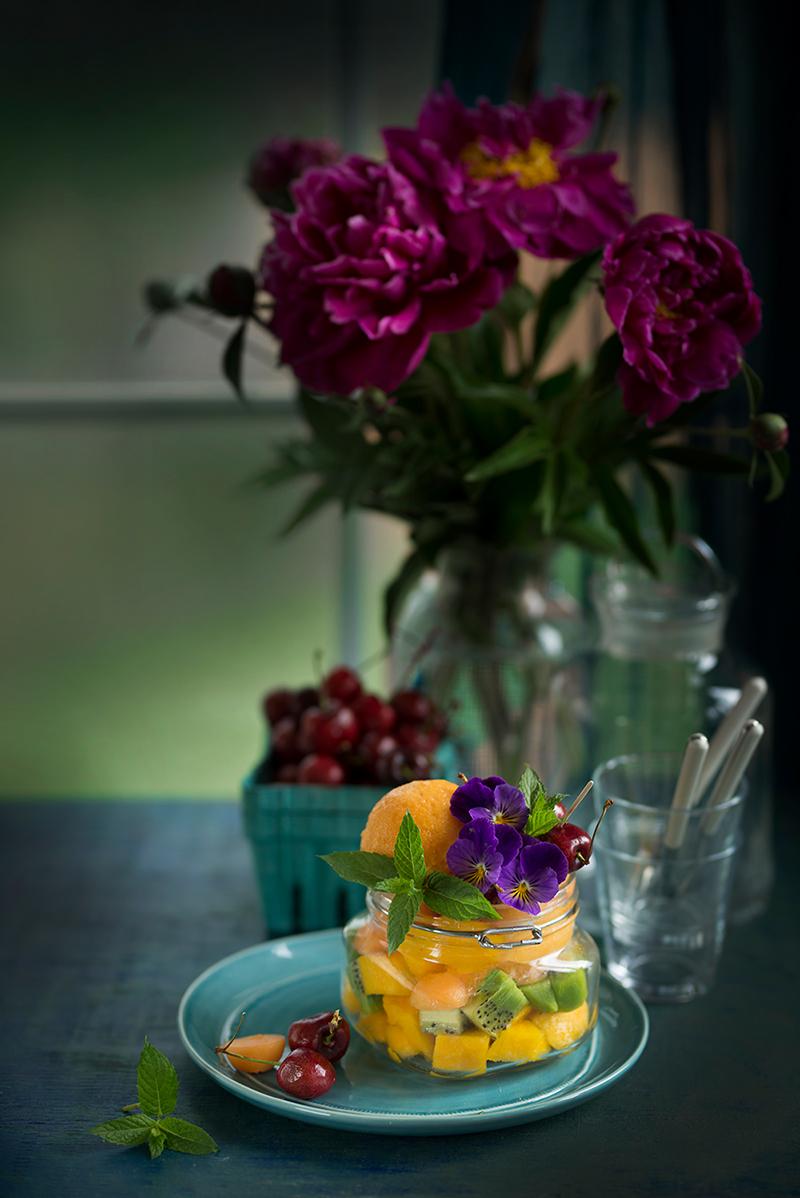 Mango-Peach-Cantaloupe-Turmeric Sorbet by Simi Jois