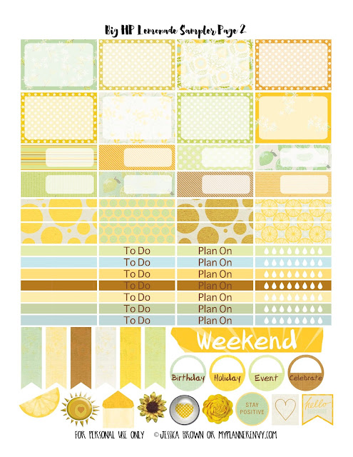 Lemonade Sampler Page 2 for the Big Happy Planner on myplannerenvy.com
