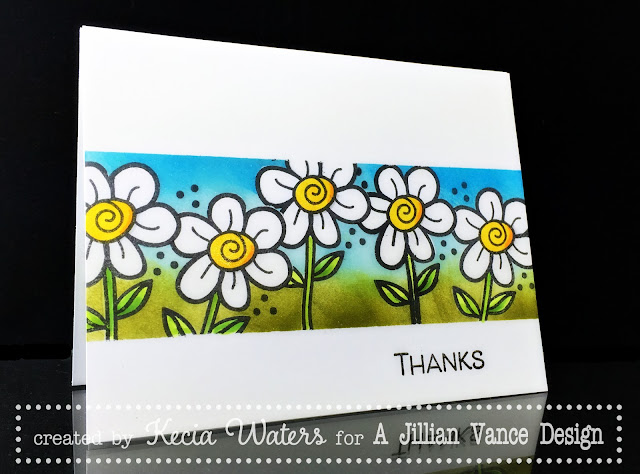 AJVD, Kecia Waters, daisies, Copic markers, Distress Ink