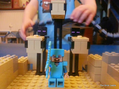 LEGO Minecraft set 21117 - The Endermen and Steve in diamond suit