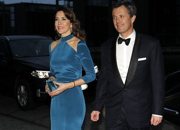 Queen Mathilde, Crown Princess mary, Princess Marie, Princess Elisabeth, Prince Joachim and Prince Frederik attend a dinner at the Black Diamond.Queen wore Armani red gown, Princess wore blue dress and red dress