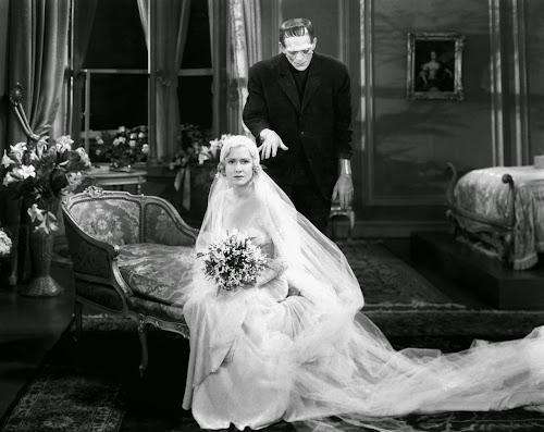 Cena do filme Frankenstein, de 1931, com Boris Karloff e uma noiva sem noção do perigo
