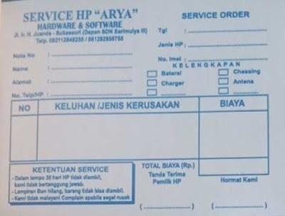Nota service handphone