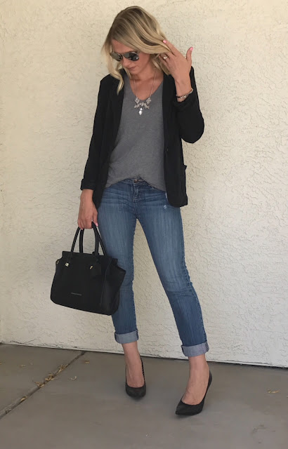 Thrifty Wife, Happy Life Gray Tee shirt with blazer, jeans and black pumps.