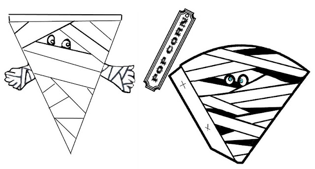 Cono y Banderín de Momia para Imprimir Gratis. Halloween.