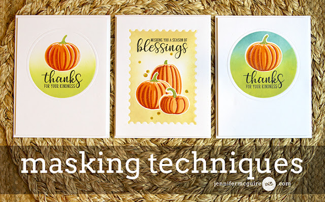 Sunny Studio Stamps: Pretty Pumpkins and Autumn Greetings Fall Cards with Masking Video Tutorial by Jennifer McGuire