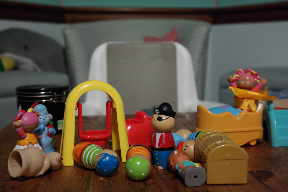 Toddler toys on coffee table