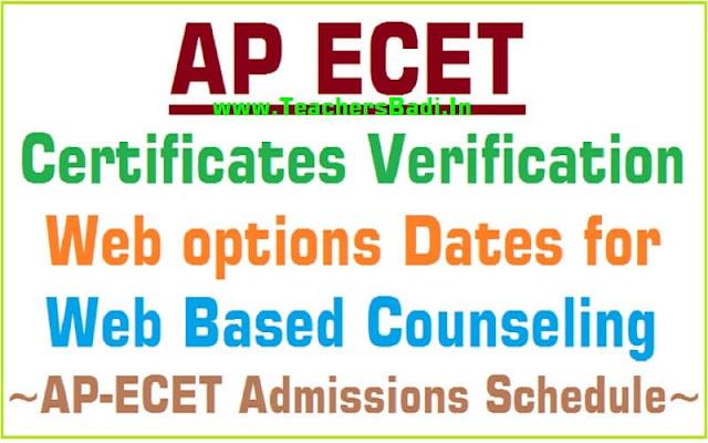 AP ECET 2017 Certificates verification, Web options Dates for Web Based Counseling