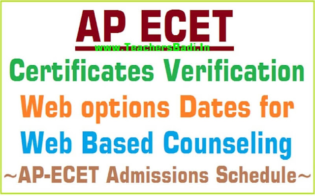 AP ECET 2019 Certificates verification, Web options Dates for Web Based Counseling