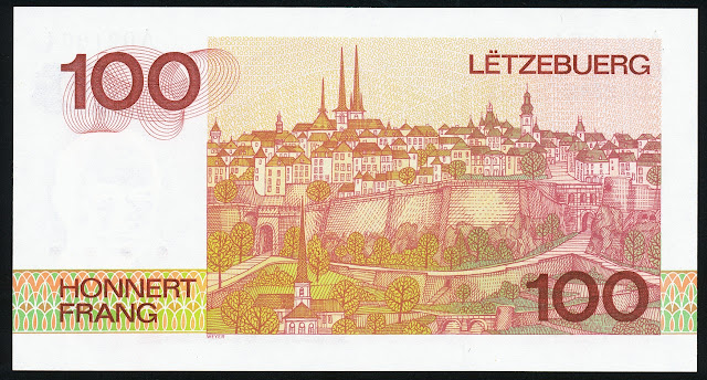 Luxembourg money currency 100 Francs banknote