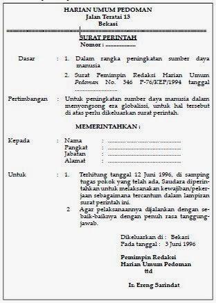 contoh surat perintah kerja tertulis