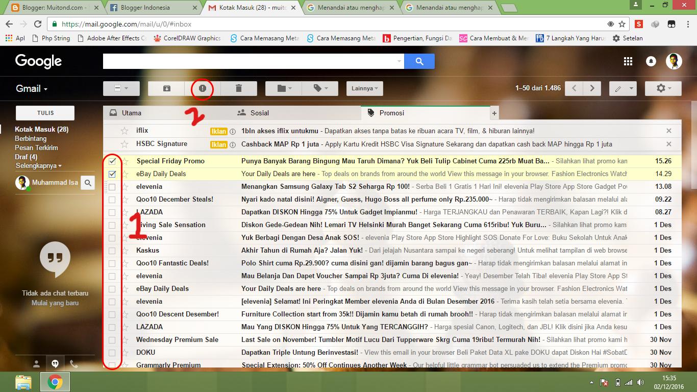 Cara Menghentikan/Memblokir/Menghapus Email Spam di Gmail -Muitond