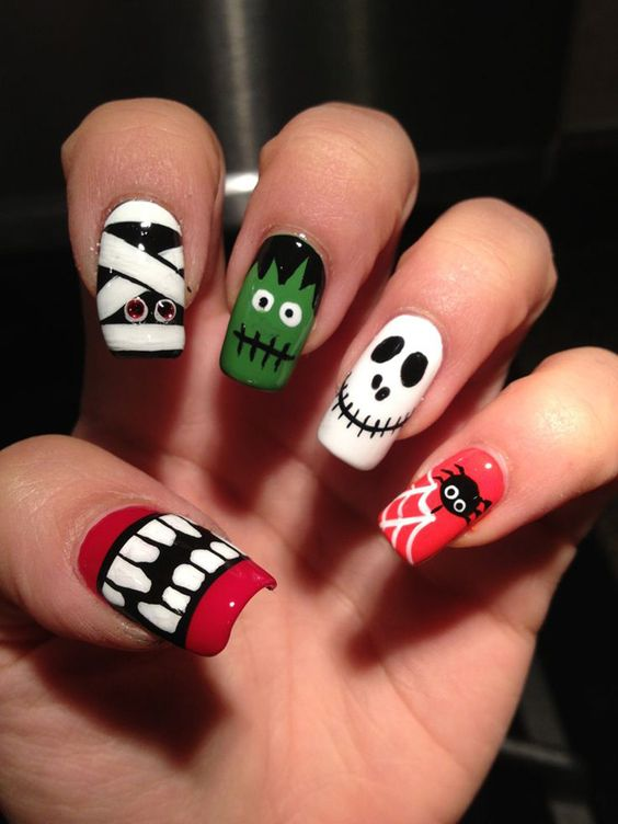 cute nail art ideas for halloween party