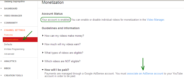 bagaimana cara mengaitkan channel youtube dengan akun adsense
