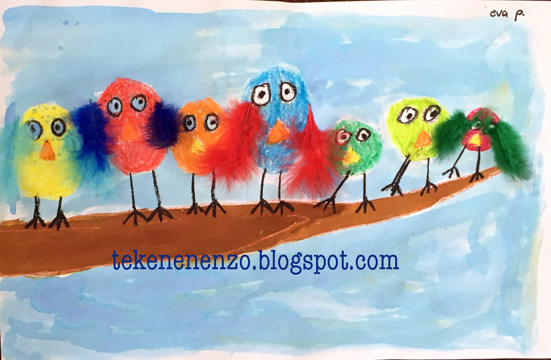 Top Tekenen en zo: Vrolijke vogeltjes op een tak #YL83