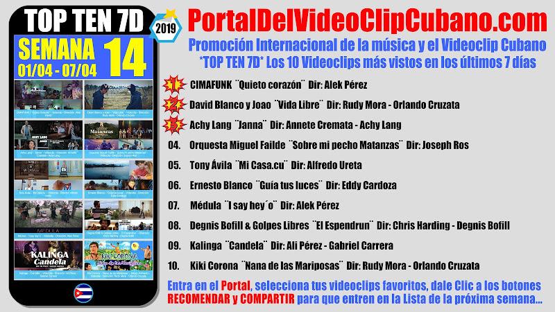 Artistas ganadores del * TOP TEN 7D * con los 10 Videoclips más vistos en la semana 14 (01/04 a 07/04 de 2019) en el Portal Del Vídeo Clip Cubano