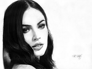 Retrato con lápices de Megan Fox