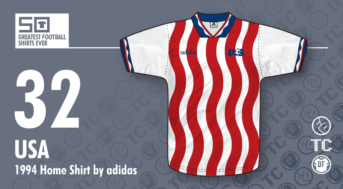 50GFSE] #32 & #31 - USA 1994 Home & Away Shirts by adidas ~ The