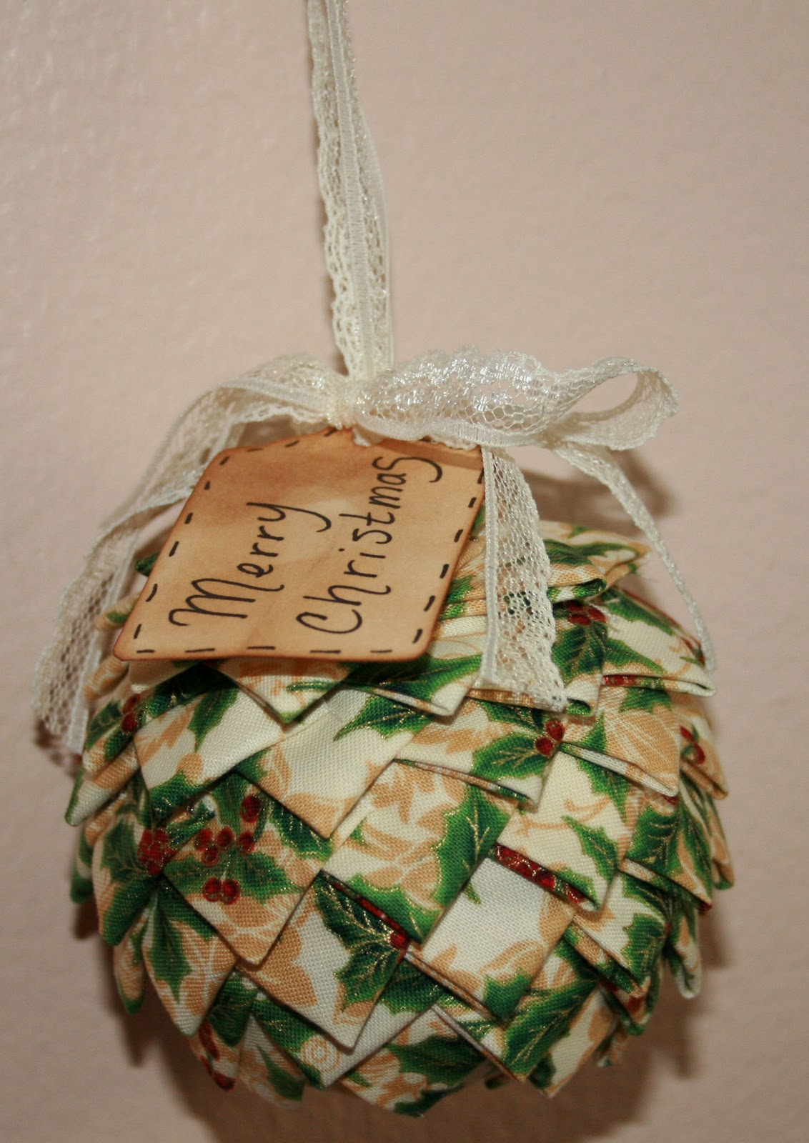 Fabric Ball Ornament With Old Fashioned Prim Tag And Vintage Lace It Is Made By Hand Lots Of Pins Looks Great Hanging In A Tree Or On An