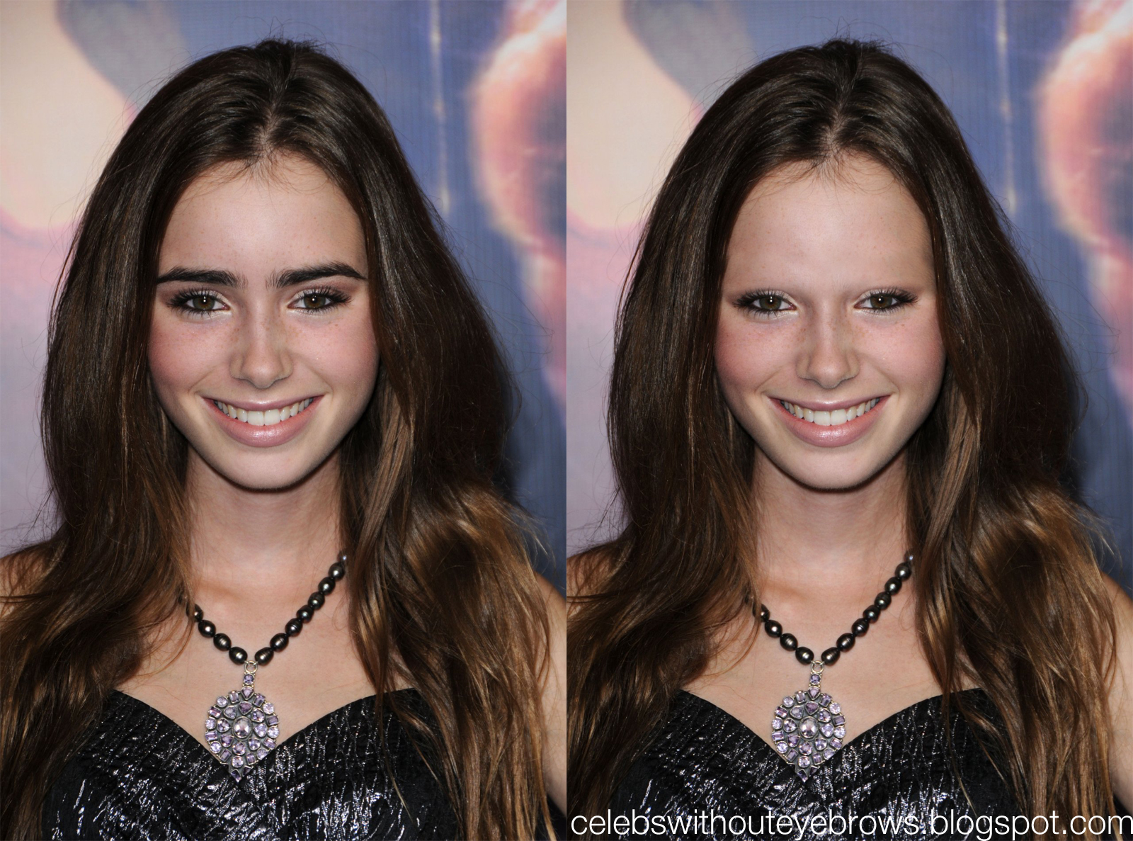 Celebs Without Eyebrows: Lily Collins