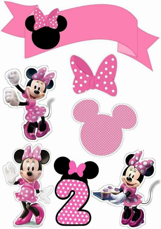 Minnie in Pink:  Free Printable Cake Toppers.