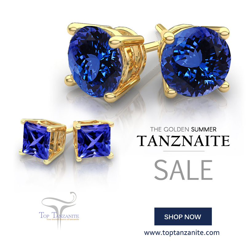 with shape gemstone pinterest in are white tanzanite set best carats gold stud earrings on images yellow these price princess come toptanzanite studs up