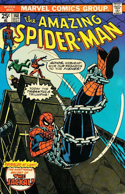 Amazing Spider-Man #148, the Jackal and the Tarantula throw a chained Spider-Man off a bridge as the Gwen Stacy clone watches