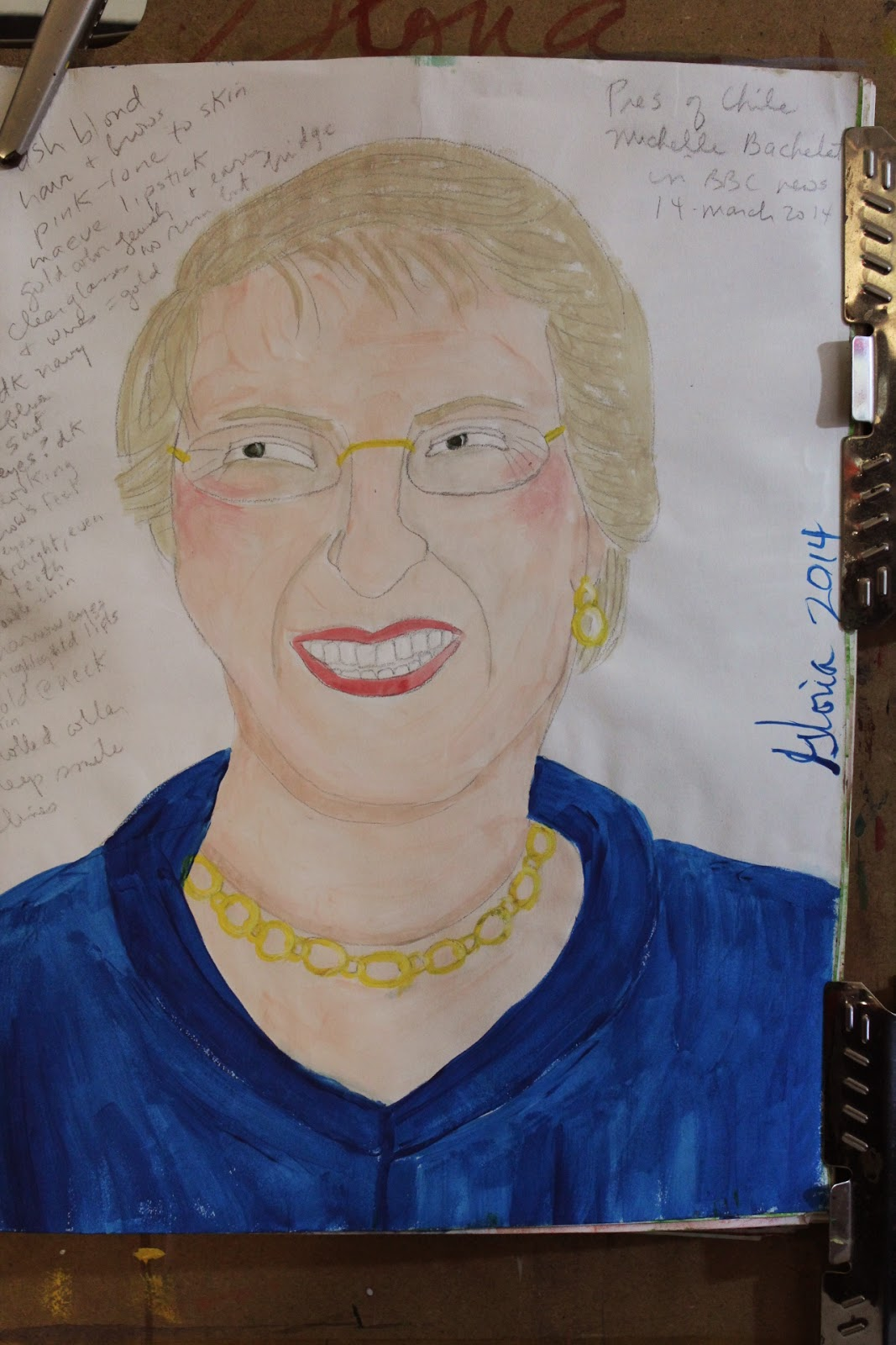 """Pres of Chile Michelle Bachelet"" ethnic sketch for ethnic series, by Gloria Poole; 17-Mar-2014"