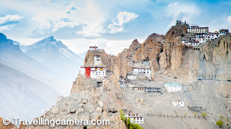 Dhankar village is situated at an elevation of approximately 3800 meters. The monastery complex is built on a high  montain overlooking the confluence of the Spiti and Pin Rivers on the left. That's one of the main reasons that Dhankar gompa is considered to be located at a very special location. The monastery was built approximately one thousand years ago and now belongs to the Gelugspa School.