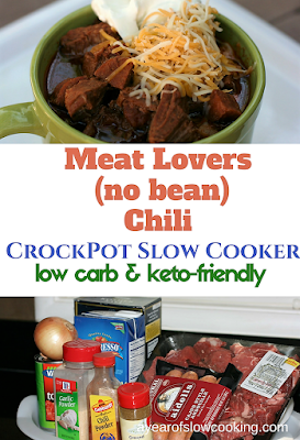 Low Carb chili or No Carb chili -- one that is keto-friendly, is easy to make in the crockpot slow cooker. The secret is to use a few varieties of meat, keep the spices flavorful and to not add beans.