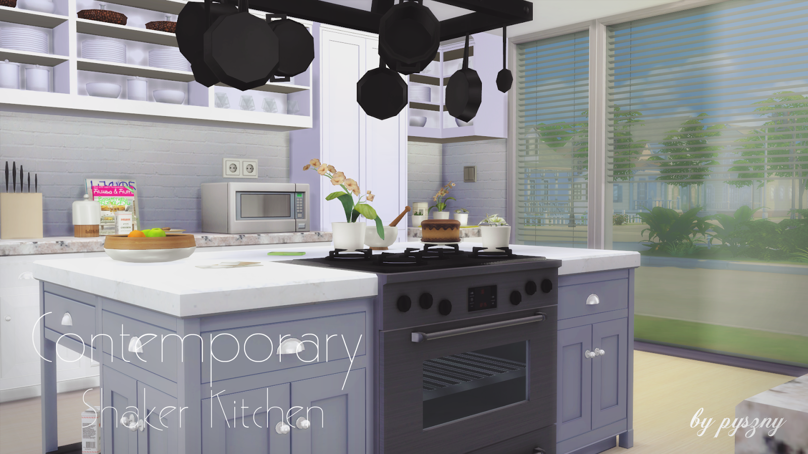 My sims 4 blog contemporary shaker kitchen set by pyszny for Kitchen set aluminium modern