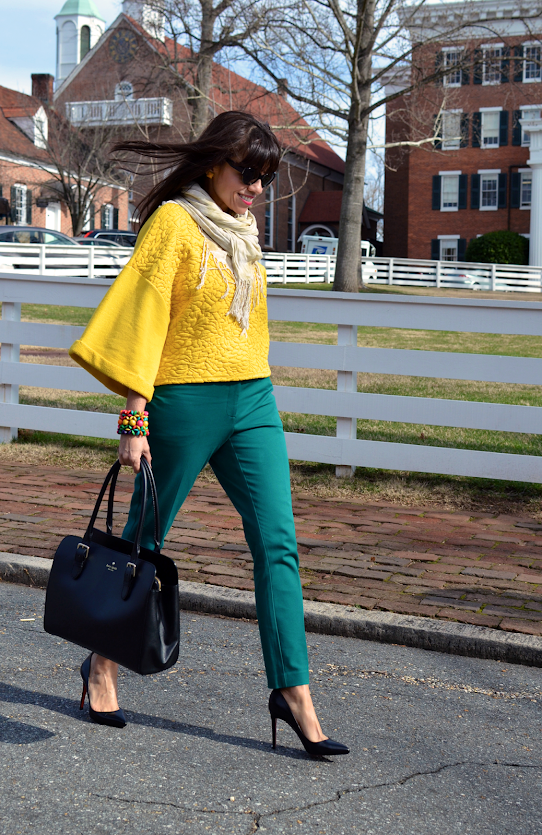 Mustard yellow top outfit