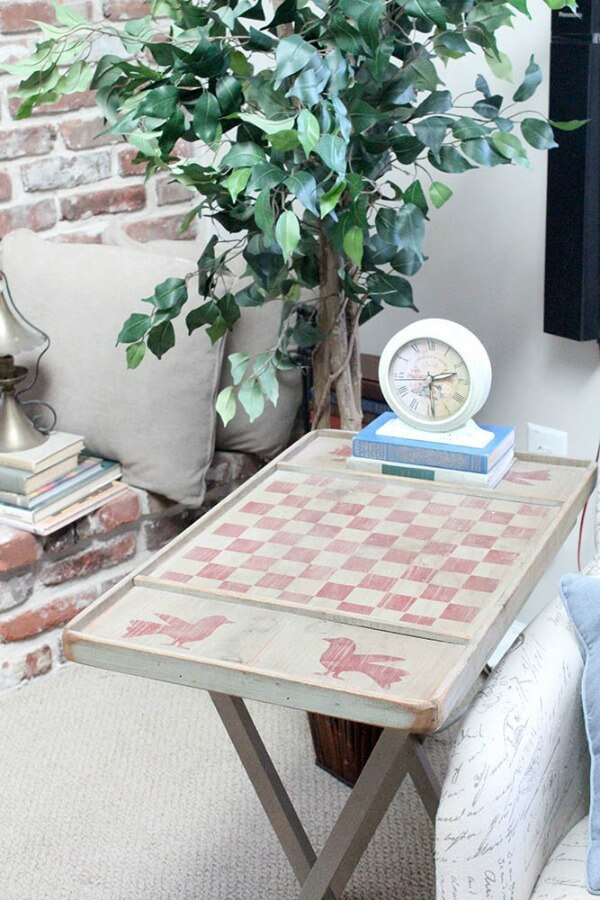 stenciled tv tray table