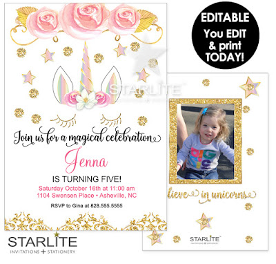 Unicorn photo birthday invitation printable editable instant download