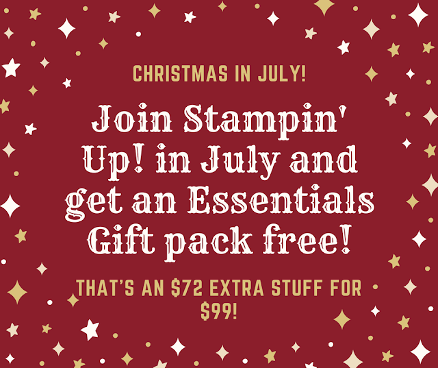 So, it is always a good time to join Stampin' Up! But this is an amazing deal!! Even if you only sign up to get the kit, it is an excellent price of $99.  You get $125 worth of products you chose from the catalog, plus business supplies.  AND for the month of July, you will also get an Essentials Gift pack: Two Clear Blocks size D, Grid Paper, Paper Snips, SNAIL adhesive, Bone Folder.  And the Carols of Christmas stamp set! OMG!  Join me now for this amazing deal, even if you never host a party! http://www.stampinup.net/esuite/home/tanyaboser/jointhefun